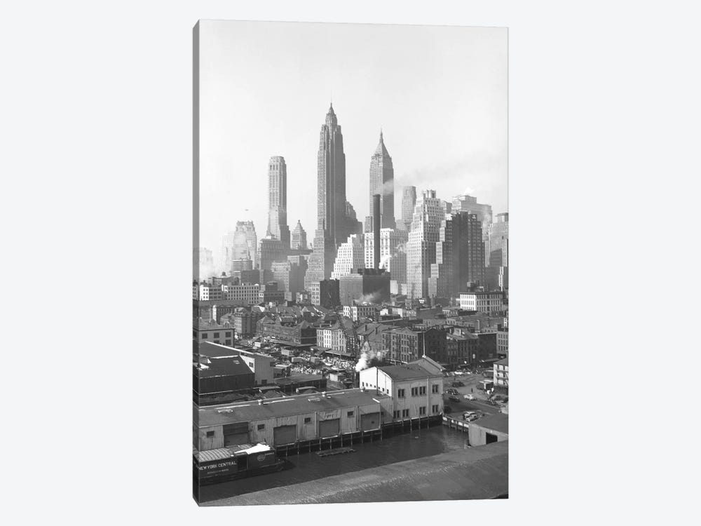 1947 View II, Lower Manhattan Skyline As Seen From The Brooklyn Bridge, New York City, New York, USA by Peter Bennett 1-piece Canvas Art Print