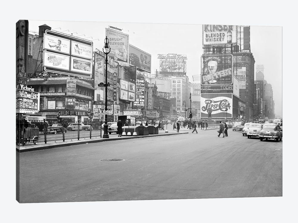 1948 Streetscape, Times Square, New York City, New York, USA by Peter Bennett 1-piece Canvas Artwork