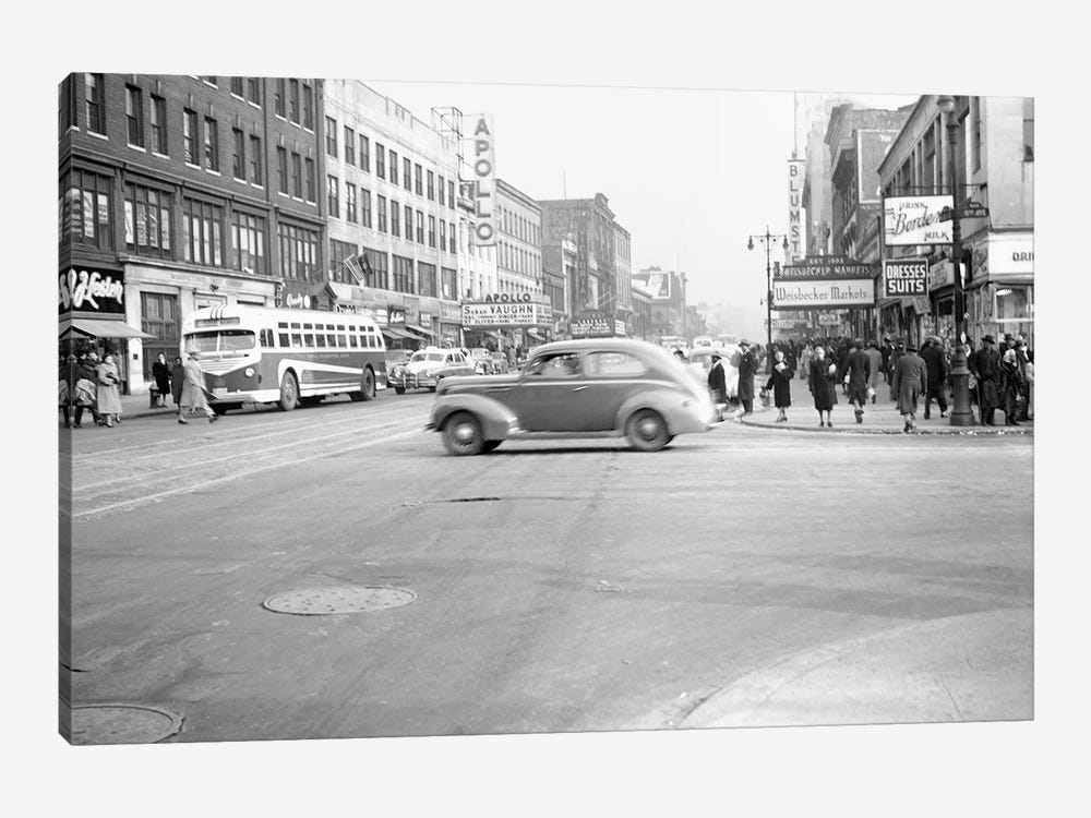1948 Streetscape, 125th Street & 8th Ave., Harlem, New York City, New York, USA by Peter Bennett 1-piece Art Print