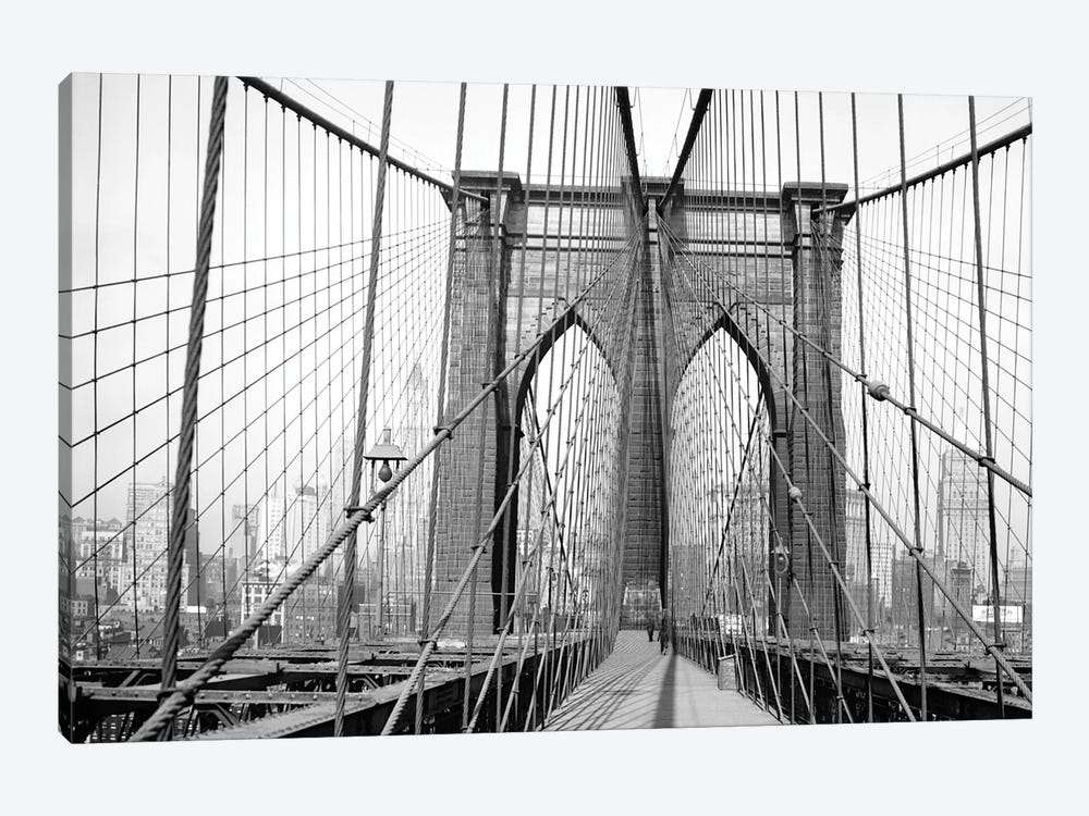 1948 View, Brooklyn Bridge, New York City, New York, USA by Peter Bennett 1-piece Canvas Wall Art
