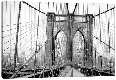 1948 View, Brooklyn Bridge, New York City, New York, USA Canvas Art Print