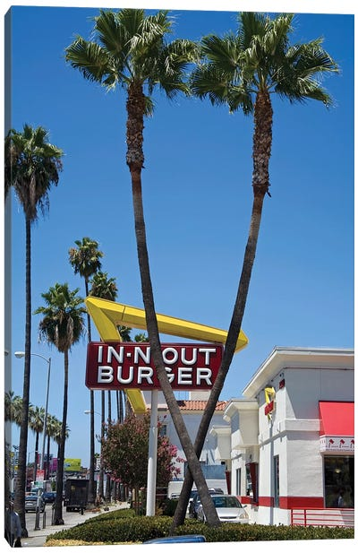 In-N-Out Burger Sign, Sunset Boulevard, Los Angeles County, California, USA Canvas Art Print