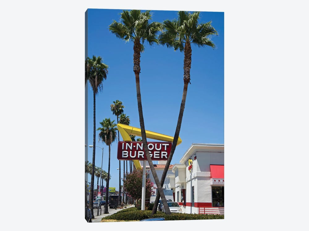 In-N-Out Burger Sign, Sunset Boulevard, Los Angeles County, California, USA by Peter Bennett 1-piece Canvas Art