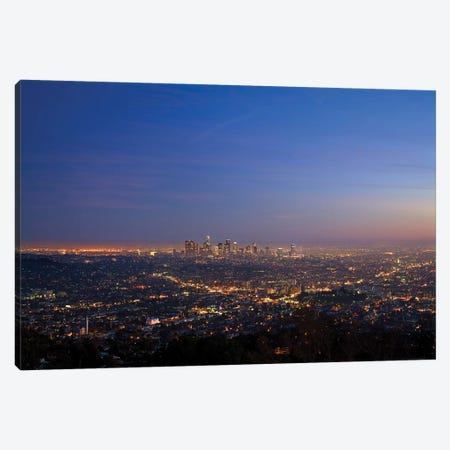 Illuminated Cityscape, Los Angeles County, California, USA Canvas Print #PBE2} by Peter Bennett Canvas Print