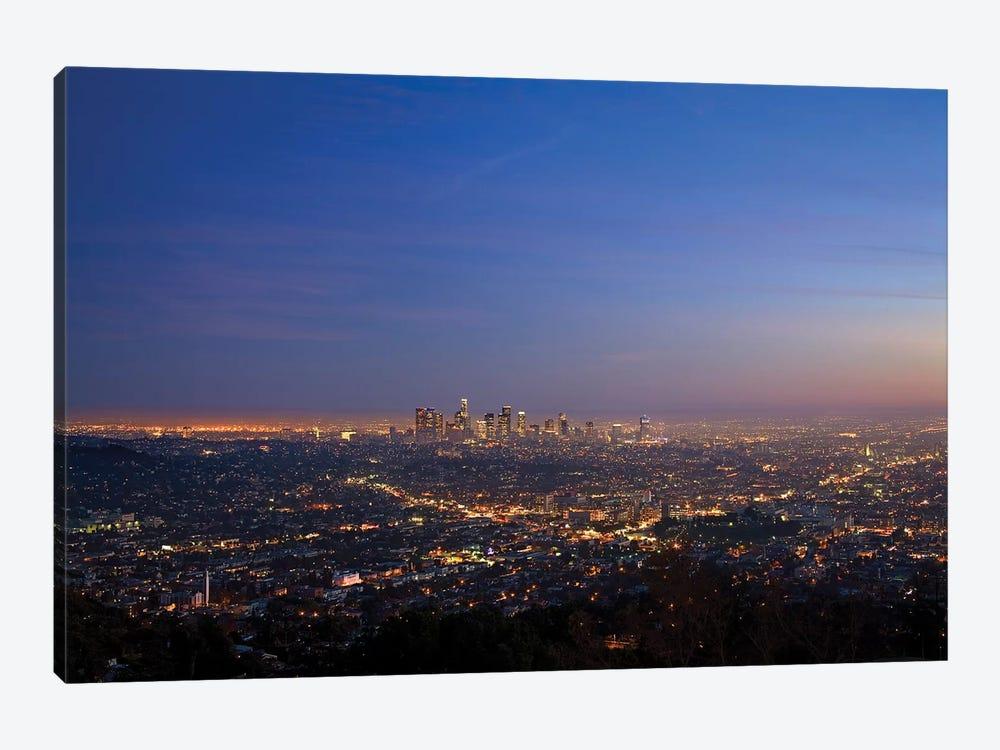 Illuminated Cityscape, Los Angeles County, California, USA by Peter Bennett 1-piece Canvas Art Print