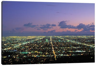 Nighttime View From Griffith Park, Los Angeles, California, USA Canvas Art Print