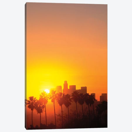 Downtown Skyline During Sunset, Los Angeles, California, USA Canvas Print #PBE6} by Peter Bennett Canvas Artwork