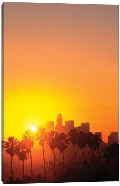 Downtown Skyline During Sunset, Los Angeles, California, USA Canvas Art Print