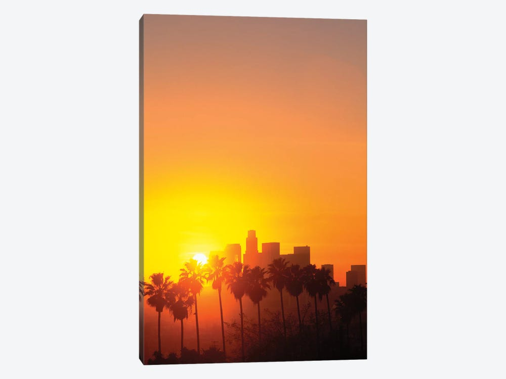 Downtown Skyline During Sunset, Los Angeles, California, USA by Peter Bennett 1-piece Canvas Art Print
