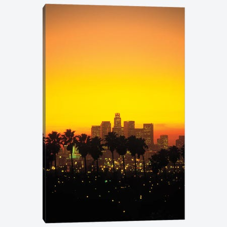 Downtown Skyline At Sunset I, Los Angeles, California, USA Canvas Print #PBE7} by Peter Bennett Canvas Artwork