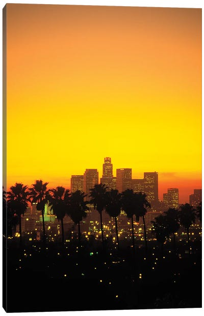 Downtown Skyline At Sunset I, Los Angeles, California, USA Canvas Art Print