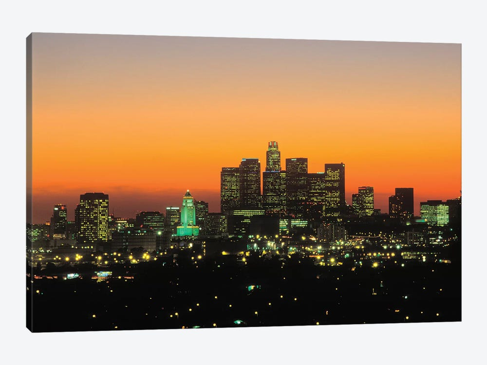 Downtown Skyline At Sunset II, Los Angeles, California, USA by Peter Bennett 1-piece Art Print