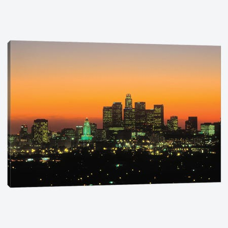 Downtown Skyline At Sunset II, Los Angeles, California, USA Canvas Print #PBE8} by Peter Bennett Canvas Print
