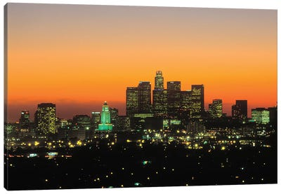 Downtown Skyline At Sunset II, Los Angeles, California, USA Canvas Art Print