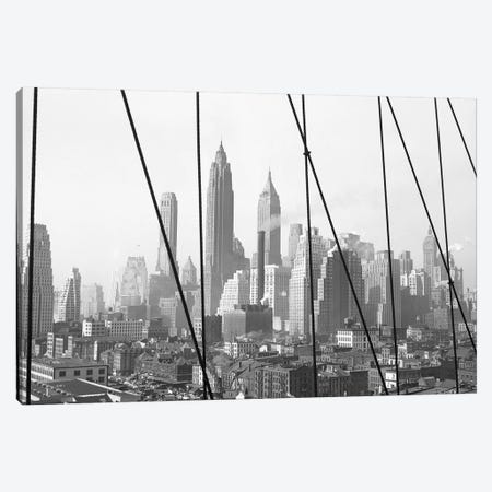 1947 View I, Lower Manhattan Skyline As Seen From The Brooklyn Bridge, New York City, New York, USA Canvas Print #PBE9} by Peter Bennett Canvas Print