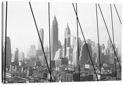 1947 View I, Lower Manhattan Skyline As Seen From The Brooklyn Bridge, New York City, New York, USA Canvas Art Print