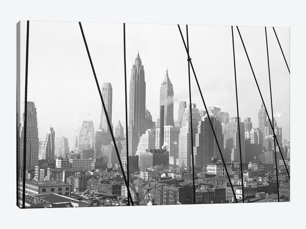 1947 View I, Lower Manhattan Skyline As Seen From The Brooklyn Bridge, New York City, New York, USA by Peter Bennett 1-piece Canvas Art