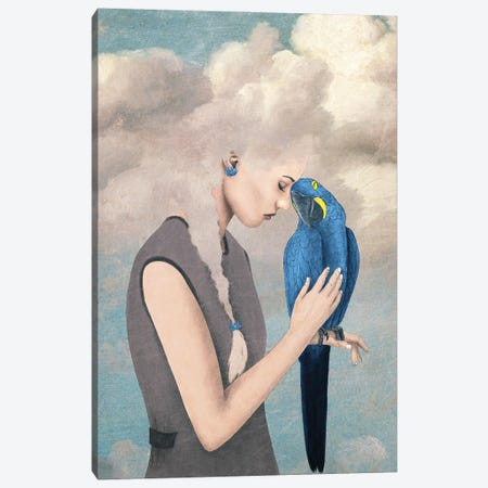 You Are Safe With Me Or Girl With Parrot Canvas Print #PBF107} by Paula Belle Flores Canvas Artwork
