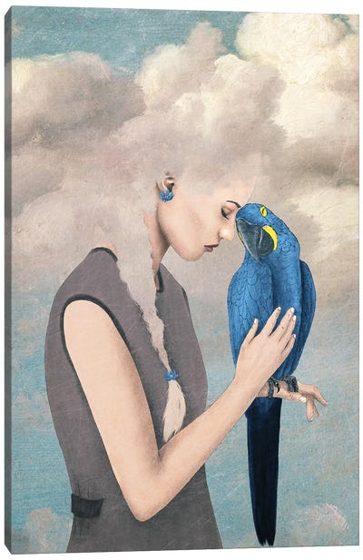 You Are Safe With Me Or Girl With Parrot Canvas Art Print