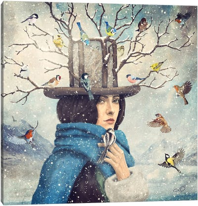 The Lady With The Bird Feeder Hat Canvas Art Print