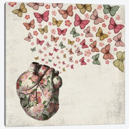 In Love: Heart And Butterfly Canvas Print #PBF14} by Paula Belle Flores Canvas Artwork