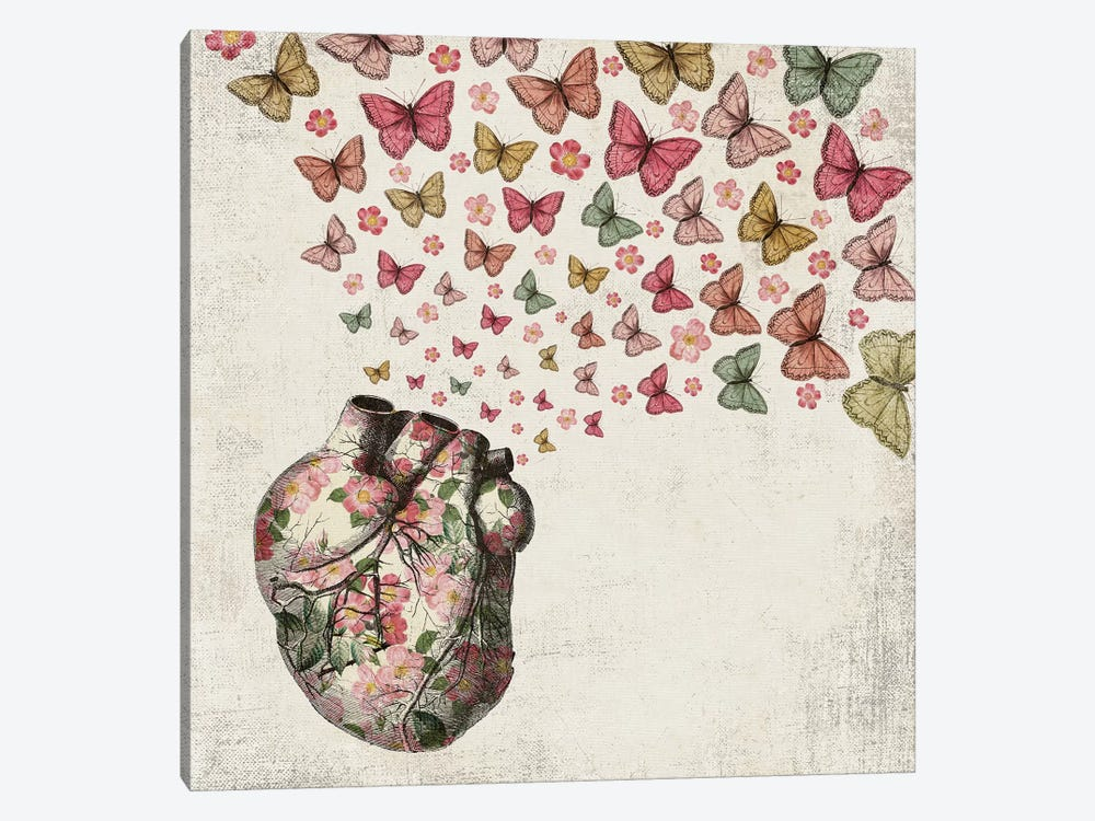 In Love: Heart And Butterfly by Paula Belle Flores 1-piece Canvas Art Print