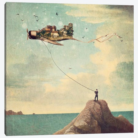 Kite Day Canvas Print #PBF15} by Paula Belle Flores Canvas Artwork