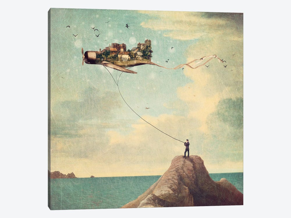 Kite Day by Paula Belle Flores 1-piece Canvas Wall Art
