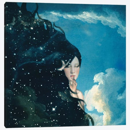 Lady Night Canvas Print #PBF17} by Paula Belle Flores Canvas Art