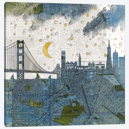 San Francisco, Old Map Canvas Print #PBF21} by Paula Belle Flores Canvas Wall Art