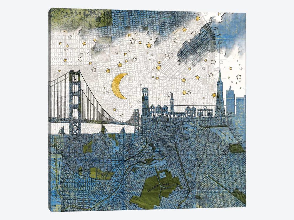 San Francisco, Old Map by Paula Belle Flores 1-piece Art Print
