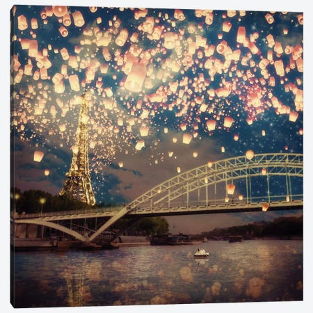 Love Wish: Lanterns Over Paris Canvas Print #PBF27} by Paula Belle Flores Art Print
