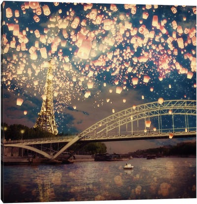 Love Wish: Lanterns Over Paris Canvas Art Print