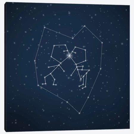 Love Written In The Stars Canvas Print #PBF28} by Paula Belle Flores Canvas Wall Art