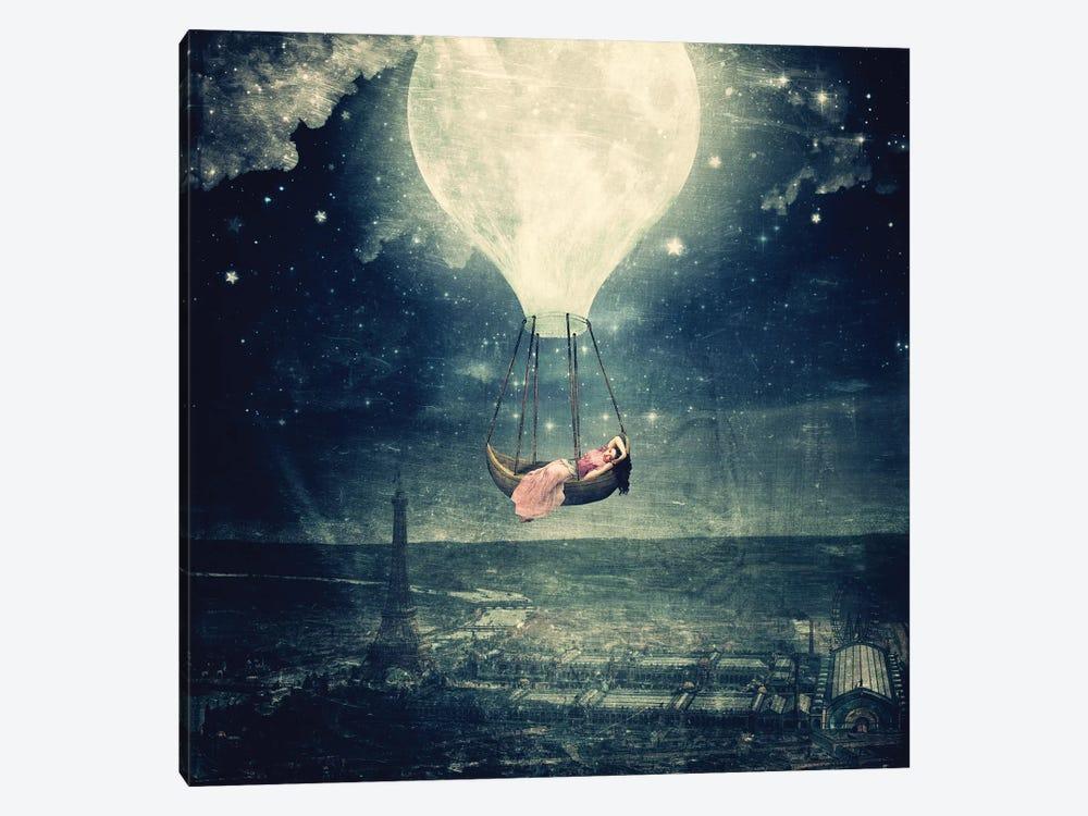 Moon Promenade Over Paris by Paula Belle Flores 1-piece Canvas Art