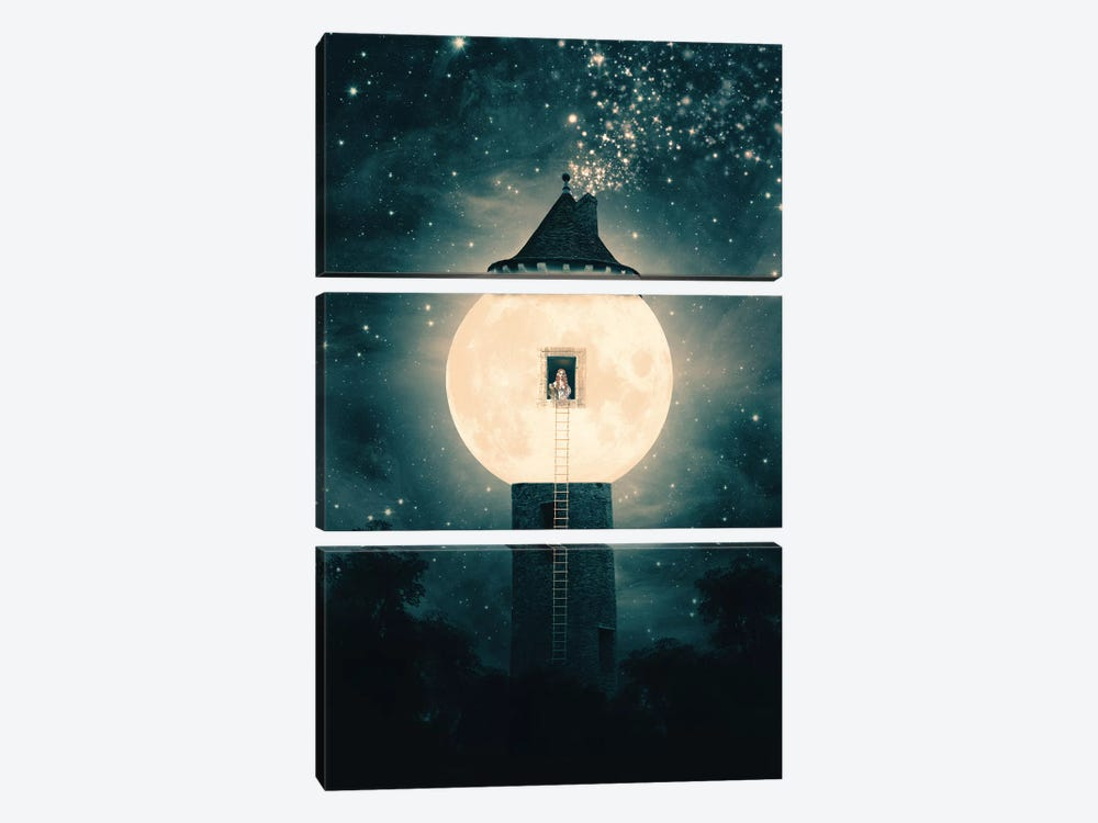 Moon Tower by Paula Belle Flores 3-piece Canvas Art Print