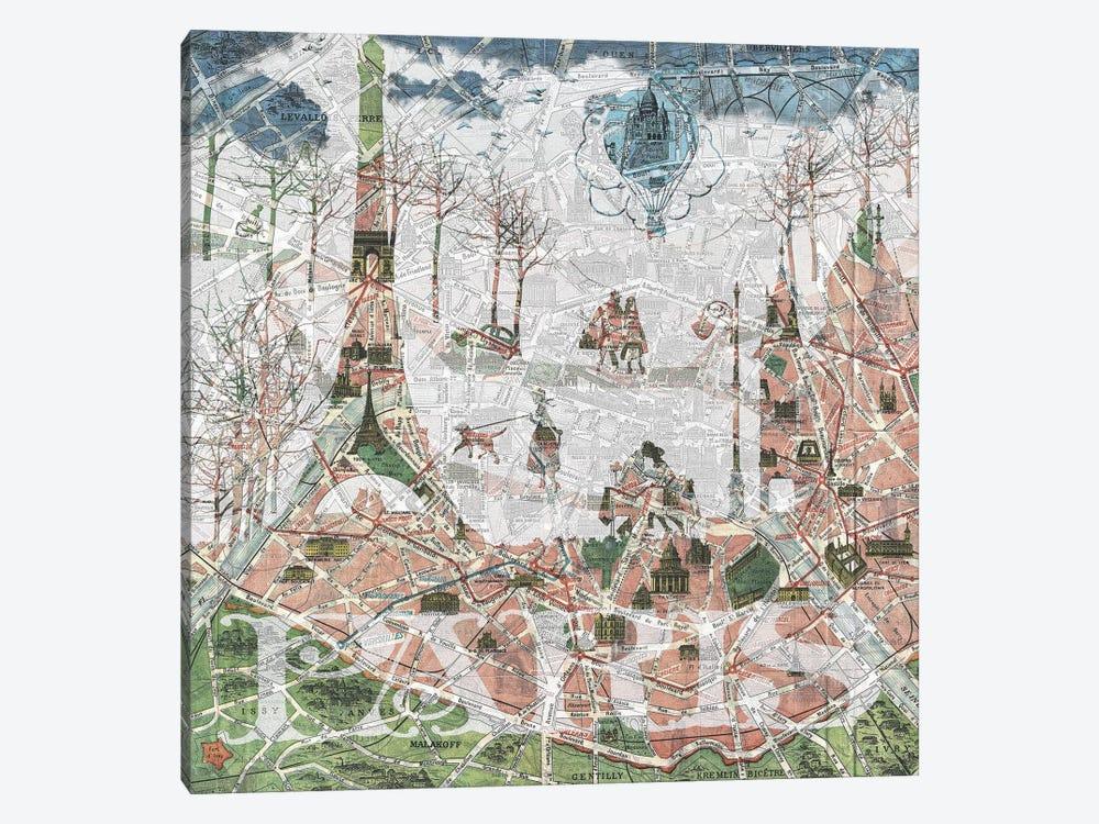 Paris, Old Map by Paula Belle Flores 1-piece Canvas Artwork