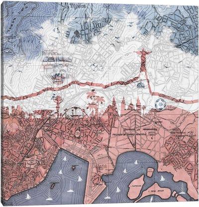 Rio de Janeiro, Old Map Canvas Art Print