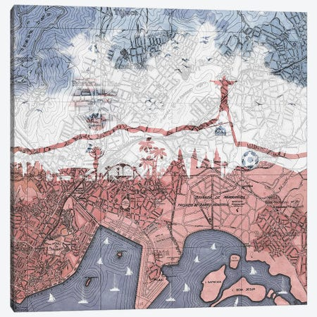 Rio de Janeiro, Old Map 3-Piece Canvas #PBF44} by Paula Belle Flores Canvas Print