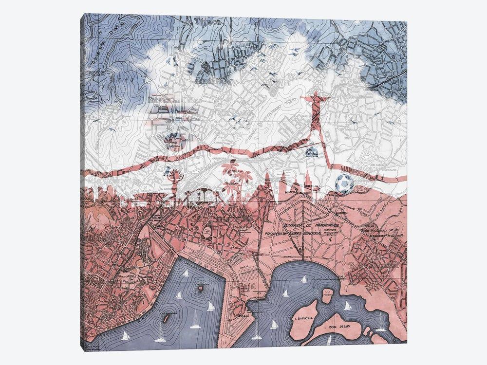 Rio de Janeiro, Old Map by Paula Belle Flores 1-piece Canvas Wall Art