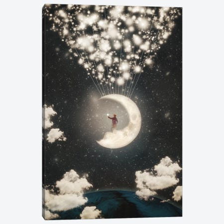 The Big Journey Of The Man On The Moon Canvas Print #PBF50} by Paula Belle Flores Canvas Print
