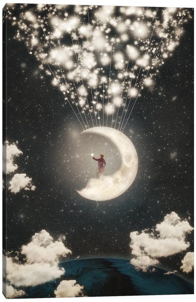 The Big Journey Of The Man On The Moon Canvas Art Print