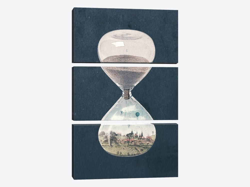 The City Where Time Had Stopped Long Ago by Paula Belle Flores 3-piece Canvas Wall Art
