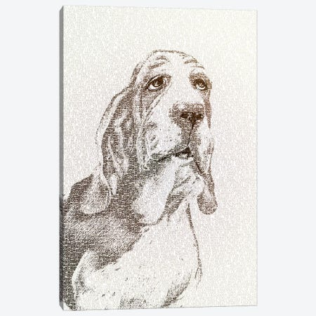 The Intellectual Basset Canvas Print #PBF56} by Paula Belle Flores Canvas Wall Art