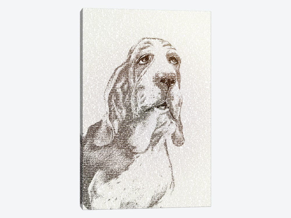 The Intellectual Basset by Paula Belle Flores 1-piece Canvas Print
