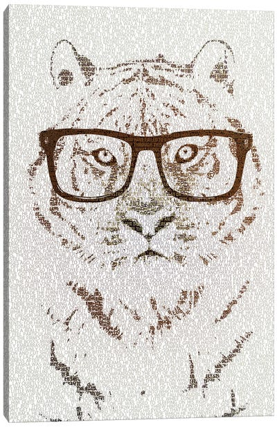 The Intellectual Tiger Hipster Version Canvas Art Print