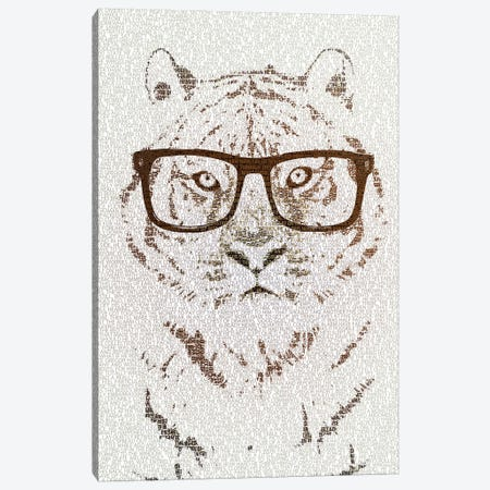 The Intellectual Tiger Hipster Version Canvas Print #PBF69} by Paula Belle Flores Canvas Wall Art