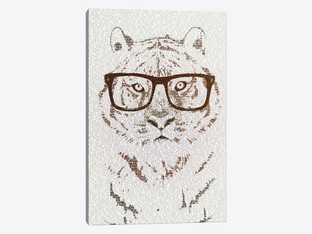 The Intellectual Tiger Hipster Version by Paula Belle Flores 1-piece Canvas Art Print