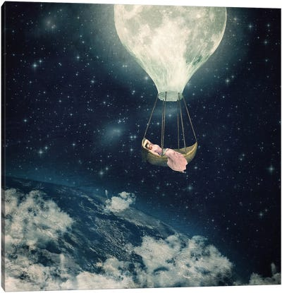 The Moon Carries Me Away Canvas Art Print