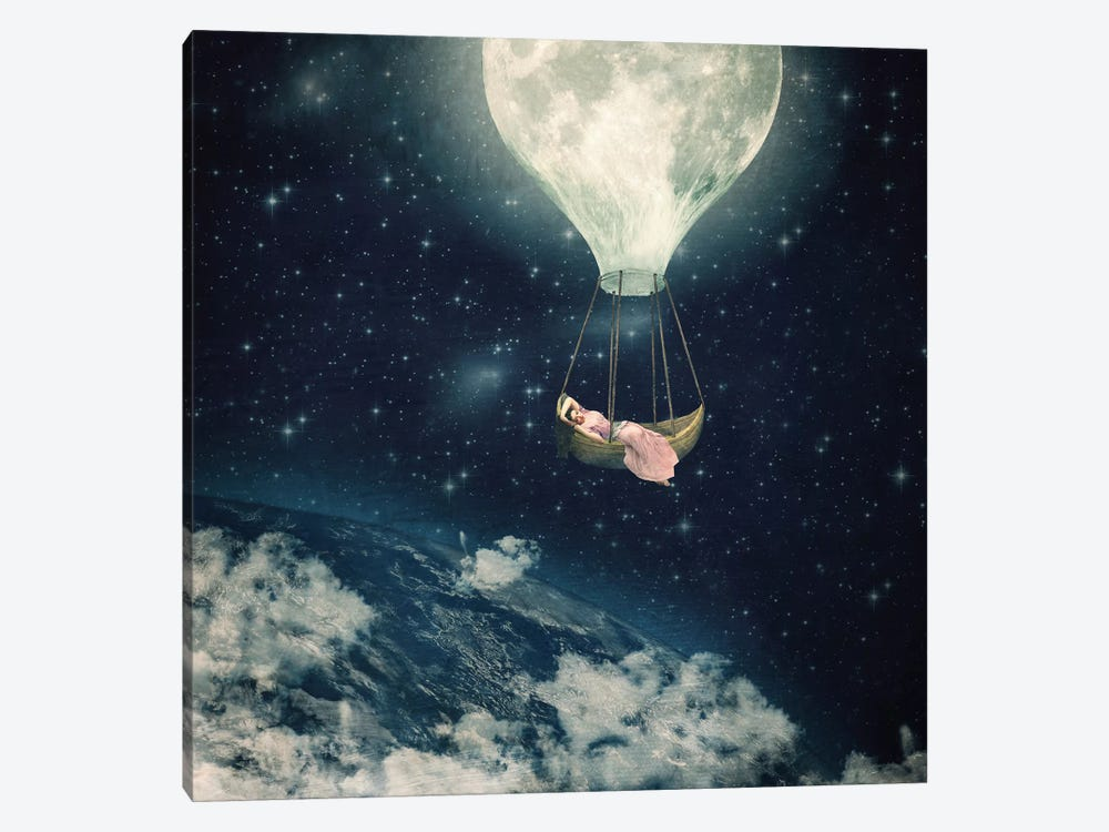 The Moon Carries Me Away by Paula Belle Flores 1-piece Canvas Artwork